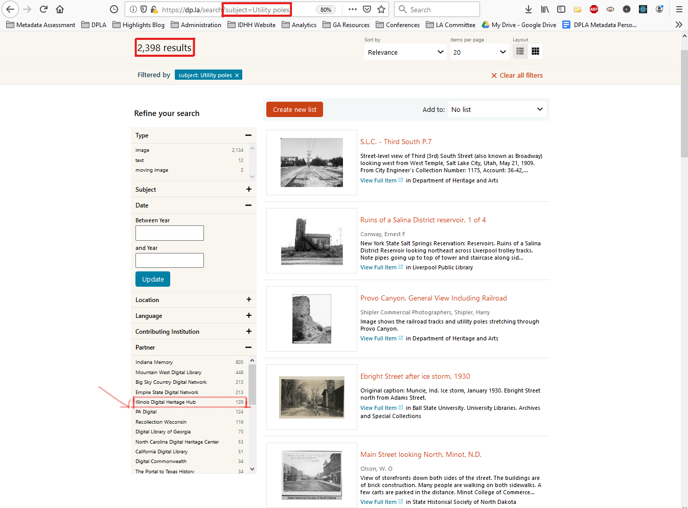 Subject term search in the DPLA catalog